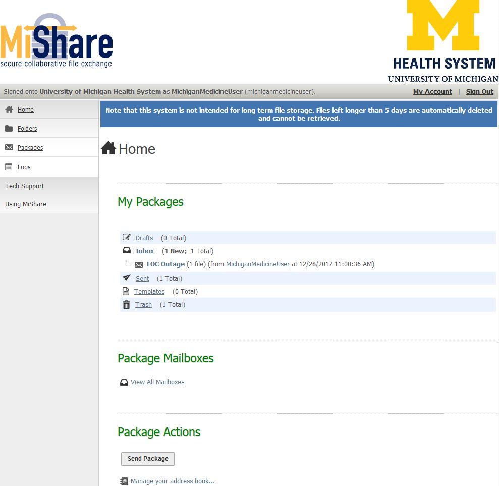 UMHS: MiShare Secure File Transfer Help